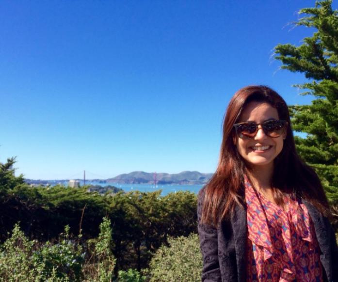 Vista ao redor da Coit Tower, Golden Gate ao fundo da foto.