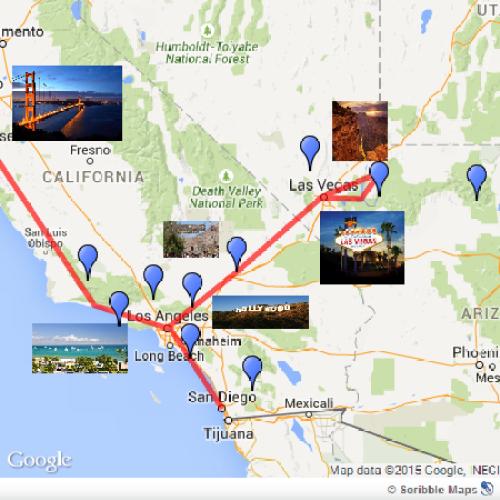 Esse foi nosso roteiro, que iníciou em Las Vegas e terminou em San Francisco.