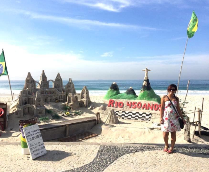 Escultura de areia em Copacabana